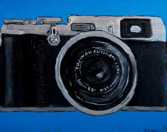 Fuji x100 Camera 11x14 art print. Camera Art. x100s x100t