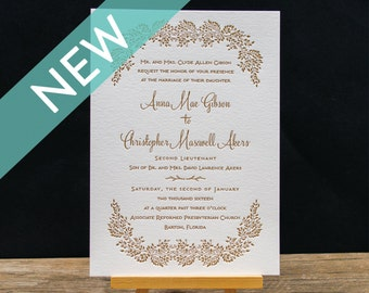 Wintergreen Letterpress Wedding Invitation Suite - DEPOSIT
