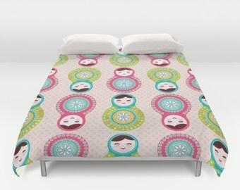 Russian Dolls, Duvet Cover, Pink Polka Dots, Matryoshka Doll, Childrens Art, Nursery Decor, Custom Bedroom, Fine Art Printed Bedding