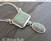 20% off Mothers Day Sale Natural variscite and sterling silver metalsmithed pendant necklace