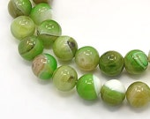Striped Agate Beads, Apple Green, 8mm Round - 15 inch strand - eGR-AG58215-8