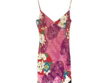 Japanese Kimono Style Pink Floral Print Beaded Dress   Size 12