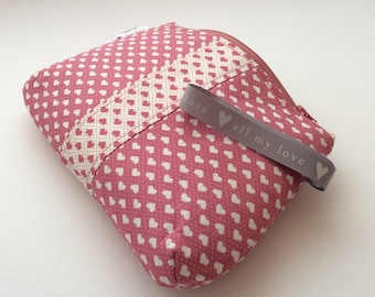 Dusky pink Valentine heart cosmetic bag