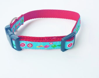 "3/4"" Adjustable Dog Collar, Buckle Collar,  Little birds, Turquoise and Pink"