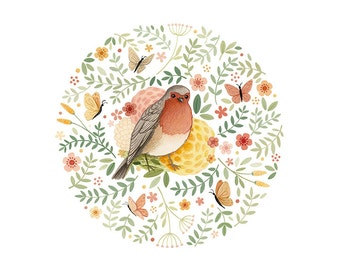 Robins & Butterflies - open edition art print