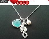 Sea horse Pendant, Charm,Necklace - Everyday Jewelry, Beach Wedding, Bridal, Tropical, Hawaiian, Beach Jewelry