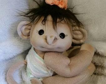 Soft sculpture Baby Monkey Girl
