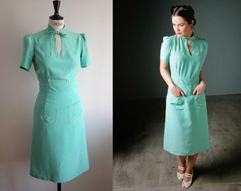 1940s dress/ Mint green dress/ Mandarin collar/ 40s reproduction/WW2