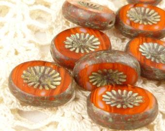 Velvet Dark Red Carved Flat Oval Czech Glass Beads (5) - 1154/KIW