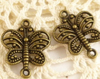 Filigree Butterfly Delicate Connector Charm Antique Bronze (6) - A96