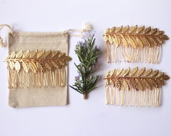 Bridesmaid Gift Sets - Maia Gold Laurel Leaf hair combs, Grecian style hair accessories