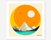 GLACIER National Park, Two Medicine Lake, Modern Minimalist Landscape, wall art for the home decor, Giclee Fine Art Print