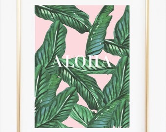 Palm Art, Botanical Decor, Tropical Art, Palm Leaf Print, Aloha Poster Hawaii Print, Tropical Leaf, Contemporary Art, Minimalist Plant Art