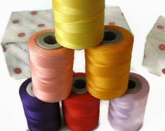 vintage sewing thread on tubes, by American, 1200 yds ea, purple, melon, lilac, more