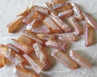 """11"""" Peach Orange Gold Metallic Quartz Raw Faceted Freeform Graduated Stick Stone Beads 25-38mm"""