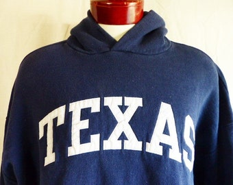 Go UT Longhorns vintage 90's University of Texas at Austin navy blue fleece graphic sweatshirt hoodie embroidered white applique logo XXL
