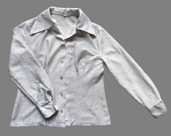 Women's Vintage 70's Metallic Dagger Collar Shirt UK 12