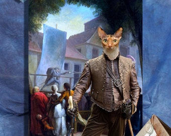 Cornish Rex - Orange Cornish Rex Cat Fine Art Canvas Print