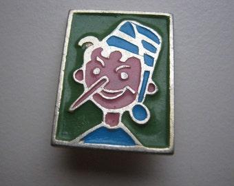 Small vintage soviet pin badge Buratino Pinocchio #1