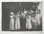 Old Photo Women Teen Girls Eating Watermelon 1910s Photograph snapshot vintage