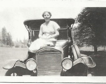 Old Photo Woman Sitting on Ford Car 1920s Photograph snapshot Vintage Automobile