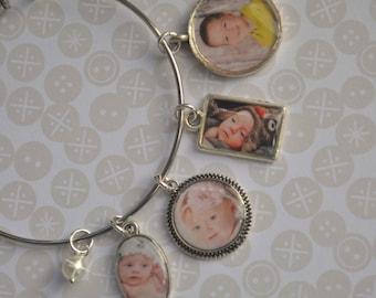 Photo Charm Bracelet, Bangle Bracelet, Photo Charms, Photo Jewelry, Stainless Steel, Personalized Jewelry, Children, Babies, Grandchildren