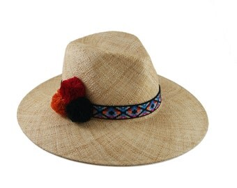 Wide Brimmed  Hat With Pompom , Ethnic Fedora , Straw  Hat , Straw hat for women , Women summer hats , Straw hat , Sun hat , Mens Hat