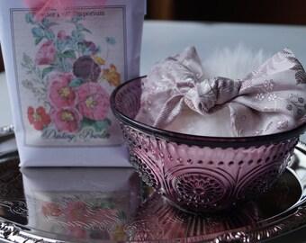 AMETHYST (purple) Pressed Glass Powder Dish with  Silk Brocade Powder Puff and Dusting Powder (Gift Set)