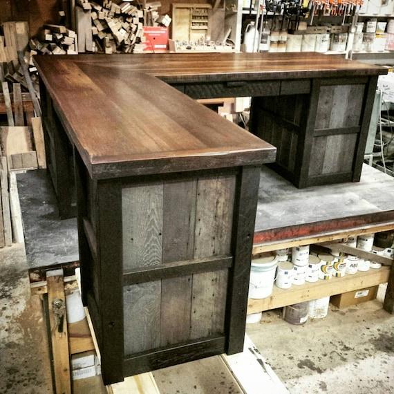 reclaimed industrial l shaped desk by echopeakdesign on etsy. Black Bedroom Furniture Sets. Home Design Ideas