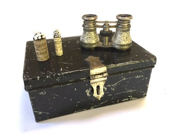 VINTAGE DOCUMENT BOX - Cash Box - Bankers Box - Brass Latch - Black - Industrial Office