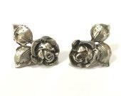 Sterling Silver Rose Vintage Earrings - Screw Back - Roses Earrings - Figural