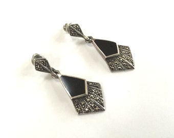 Vintage Sterling Silver Onyx Earrings - Marcasite Art Deco Style - 925 Signed Mo