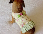 """Female Small Dog Cotton Harness Vest """"Victorian Lady"""" Floral Print, Custom for Your Little Furbaby, Cream, Pink, Green & Red with Satin Trim"""