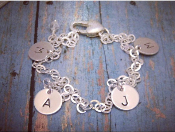 Personalized initial bracelet, Sterling silver, Custom Mother bracelet, 4 initial bracelet, Personalized Grandmother bracelet, Everyday wear