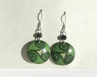 Hand Painted Green Earring, Natural Wood Silver Earrings, Celtic Spiral Painting Earrings, Handmade Dangle Earrings, Jewelry Celtic Style