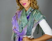 Felted  Scarf Nuno Felted Scarf Shawl Wrap Lavender Mint boho Eco print, art to wear by RaisaFelt