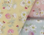 """Flower Cotton Fabric Bundle, A Fat Quarter Fabric Bundle, Shabby Chic Daisy Floral Fabric Bundle- 3 colros Each 20""""X31"""" /50cm x 80cm"""