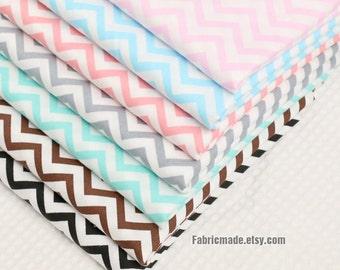 Chevron Cotton Fabric, Pink Blue Gray Green Brown Black Zig Zag Cotton fabric- 1/2 yard