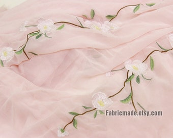 Embroidery Chiffon Fabric, Nude Pink Ivory Blue Flower Chiffon,  Floral Dress Apparel Fabric- one Panel 150X40cm