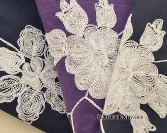 Embroidery Cotton Fabric, Dark Blue Purple Floral Embroidery Fabric 3D Embroider Cotton - 1/2 Yard