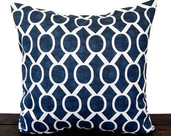Navy Blue pillow cover One cushion cover in Premier Navy Slub on white throw pillow ocean beach decor sham Sydney