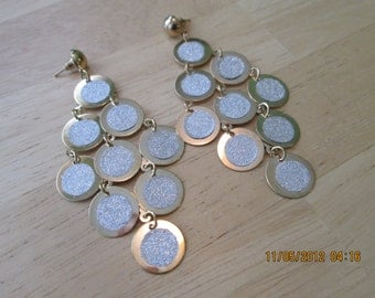 Gold Tone and White Beads Layered Dangle Post/Stud Earrings