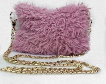 Pink Faux Llama Fur Crossbody handbag with gold chain strap