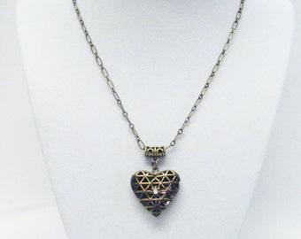 Antique Brass Filigree Heart Locket Pendant Necklace