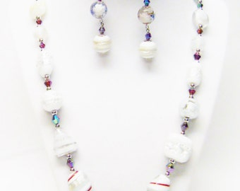 Mixed Lamp Work Glass Bead Necklace/Earrings Set