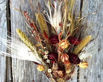 Bridal Bouquet Dried Flower Wedding Natural Earth Tones Burgundy Ivory Cedar Roses Peacock Feathers Love In A Mist