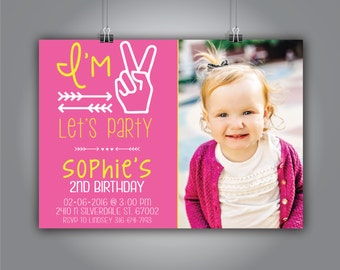 Let's Party Invite, I'm two let's party, Second Birthday Invite, Invite with Photo, 7x5, Sophie Design
