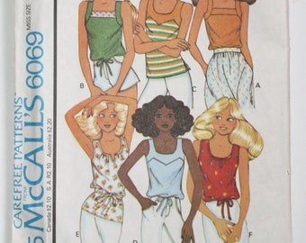 Vintage 1970s Tank Top . 70s Boho Hippie 1978 McCall's Pattern 6069 Stretch Knit Tank Top Variety Pack . Size Small Bust 32 34