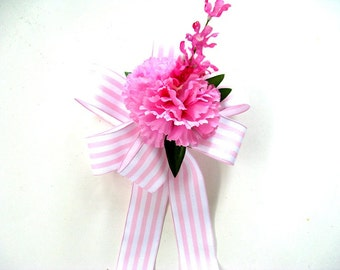 Pink and white stripe Mother's Day bow, Feminine gift bow, Party decoration bow, Large gift bow, Special occasion gift wrap bow  (MD44)