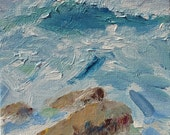 "Original acrylic impressionist seascape painting ""Revidalized II"", 6"" x 6"" x 1 3/8""  acrylic on canvas. Ocean Home decor art."